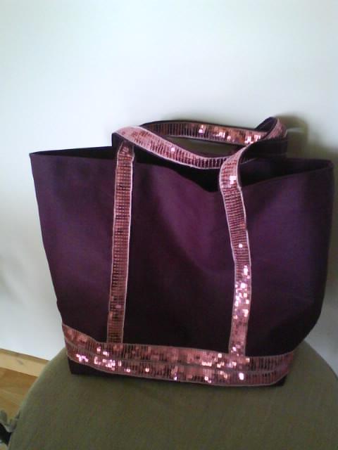 sac à paillettes violet