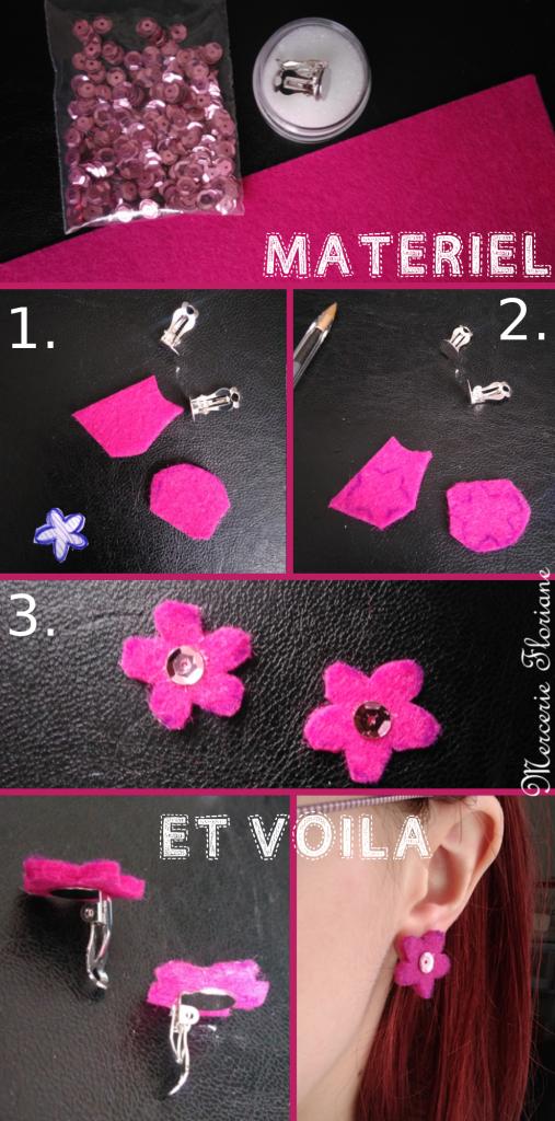 Tutoriel création boucles d'oreilles fleurs feutrine rose cinq feuilles, perles, paillettes, boucles d'oreilles à clip